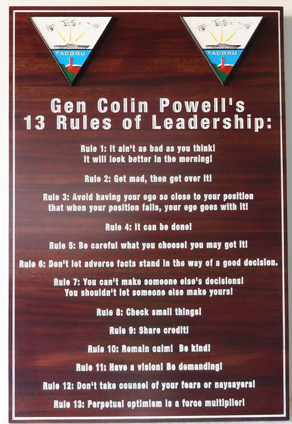 V31460 -  Carved Wood Plaque with Gen. Colin Powell's 13 Rules of Leadership, for TACGRU ONE