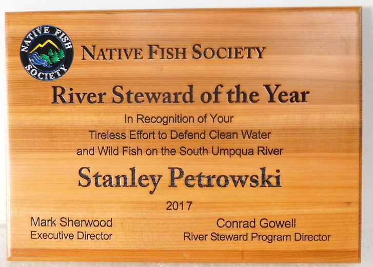 G16087 - Native Fish Society' Carved Cedar Plaque for the River Stewart of the Year for Water and Wild Fish Conservation