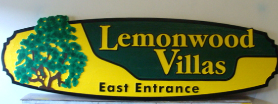 K20159 - Carved HDU Entrance Sign for Lemonwood Villas, with Painted Lemon Tree