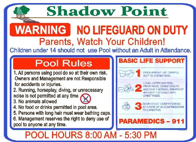 GB16240 - Carved HDU Sign with Swimming Pool Rules and Safety Instructions, for Shadow Point Apartments