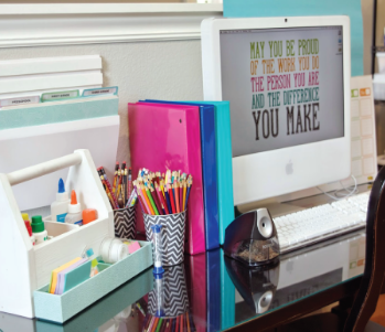 Organized work space on a desk.