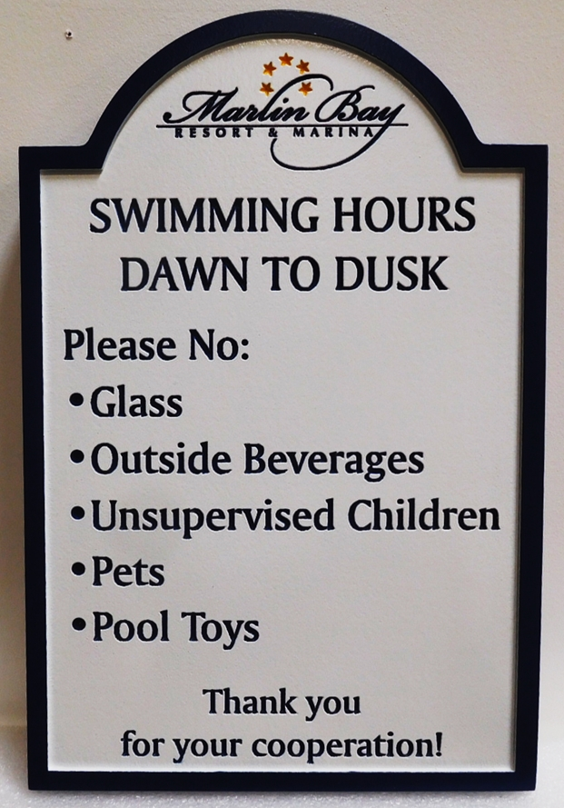 "KA20822 - Carved High-Density-Urethane (HDU)  ""Swimming Pool "" rules sign for the Marlin Bay Resort & Marina, 2.5-D Engraved"