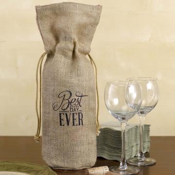 Burlap Wine Bag - Best Day Ever