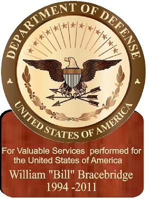 V31117 - Personalized Wooden DoD Seal Wall Plaque with Mahogany Base
