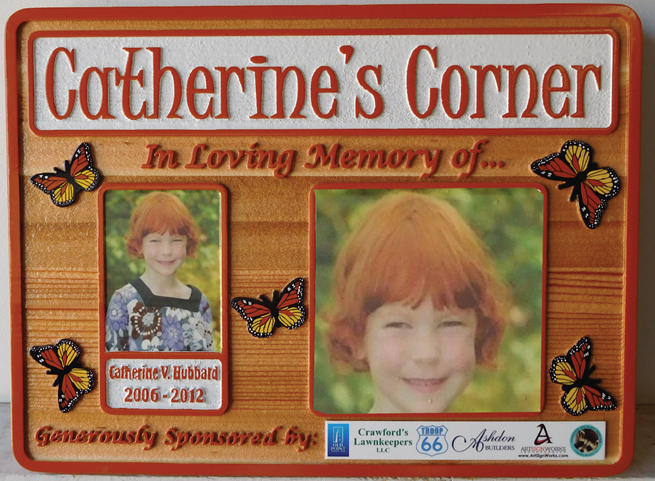 "N23019 - Carved  Cedar Memorial  Wall Plaque  ""Catherine's Corner"" Features   Printed Giclee Photos and Painted Butterflies."