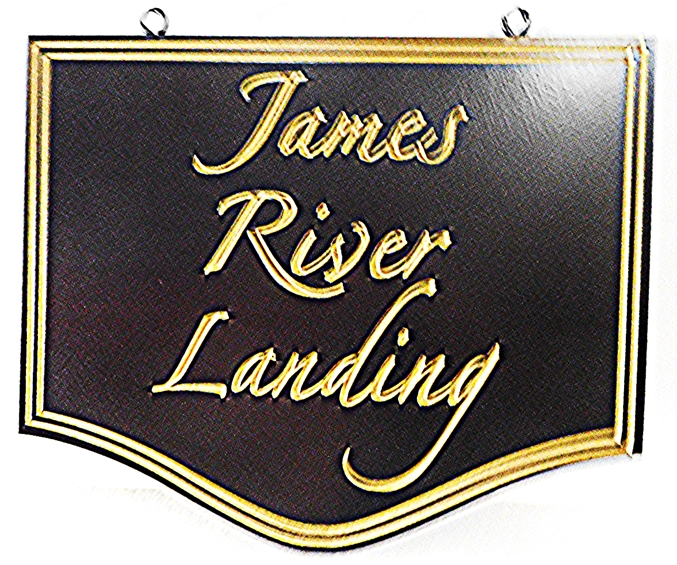 "M22441 - Elegant ""James River Landing""   2.5-D Engraved HDU Property Name  Address Sign, with Text and Borders Gilded with 24K Gold Leaf"
