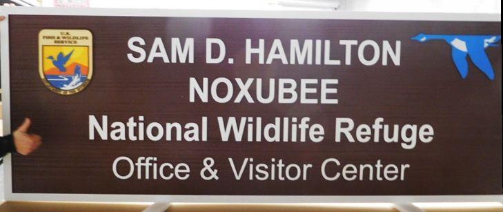 """G16042 -  Carved HDU """"Sam D. Hamilton Noxubee""""  National Wildlife Refuge Visitor Center Sign"""
