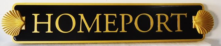 """L21887 - Carved Quarterboard sign """"HOMEPORT"""" for a Coastal Residence, with Two 3D Seashells"""