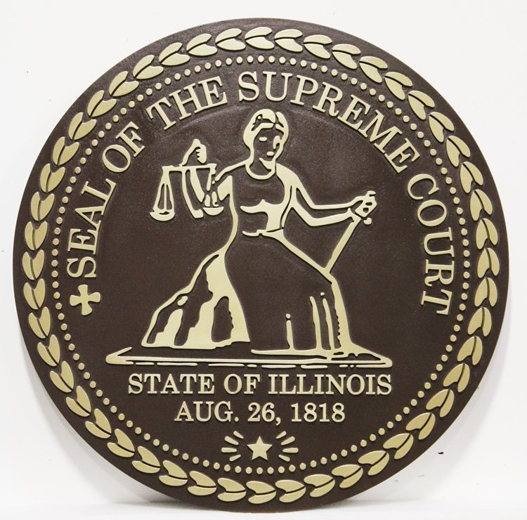 GP-1095 - Carved 2.5-D Raised Relief Brass-Plated HDU Plaque of the Seal of the Supreme Court of the State of Illinois