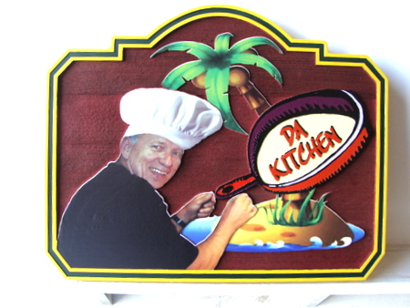 Q25721 - Carved Cedar Sign, Tropical Chef with Skillet