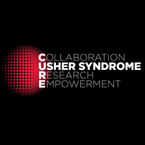 CUREUsher logo: Collaborative, Usher Syndrome, Research, Empowerment