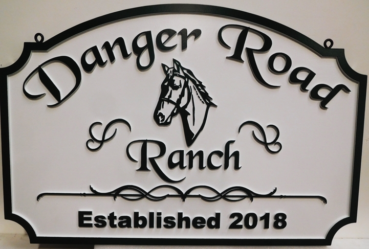 "P25165 - Carved HDU Horse Ranch Name Sign ""Danger Road Ranch"", with 2.5-D Outline Relief of Horse's Head as Artwork"