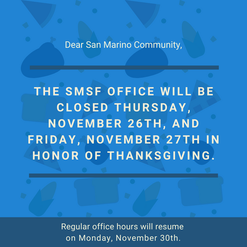 SMSF's Thanksgiving Holiday Hours