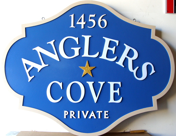 M22432 - Carved 2.5-D HDU Angler's Cover Address Sign
