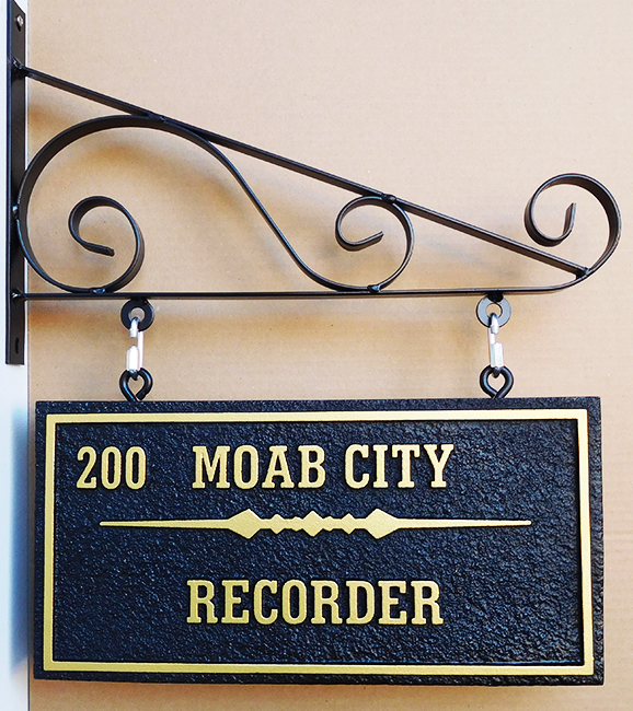 F15049 - Carved HDU Sign, Mounted on Scroll Bracket for City Recorder