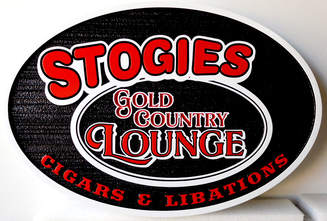 "RB27131 - Carved and Sandblasted Wood Grain Sign for ""Stoogies  Gold Country Lounge"""