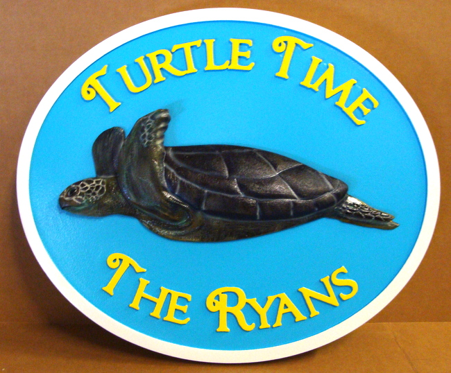 "L21662 - Carved 3-D Seashore Property Name Sign ""Turtle Time"", with Sea Turtle"