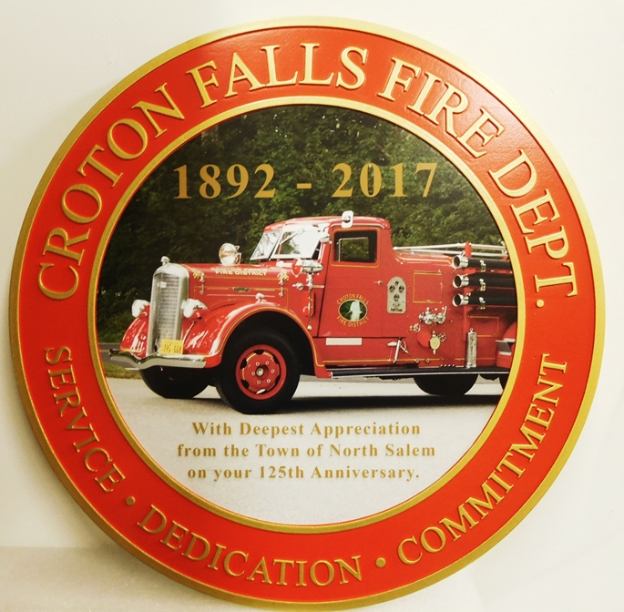 X33598 - High-Density-Urethane  Wall Plaque for the Croton Falls Fire Department, featuring a Photo of a Classic Heritage Fire Engine.