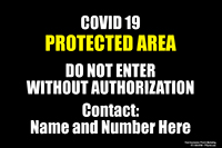 """12"""" x 18"""" COVID Protected Area Metal sign with custom contact info area"""