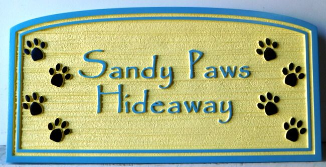 "L21093 - Seashore Residence Sign, ""Sandy Paws Hideaway"", featuring Dog Paw-prints"