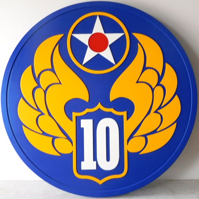 V31784- Carved 2.5-D Wall Plaque Featuring the Crest of the US Army Unit 10 (with Wings)