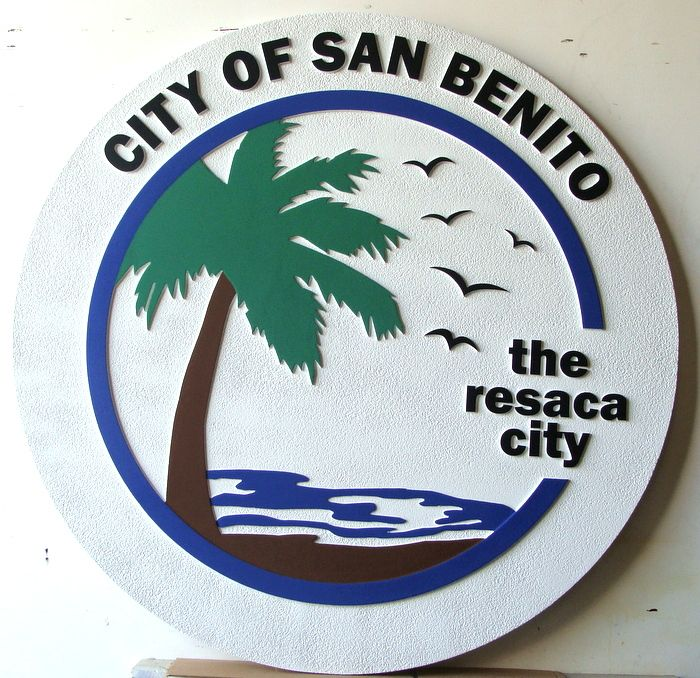 DP-2020- Carved Plaque of the Seal of the City of San Benito , Artist Painted