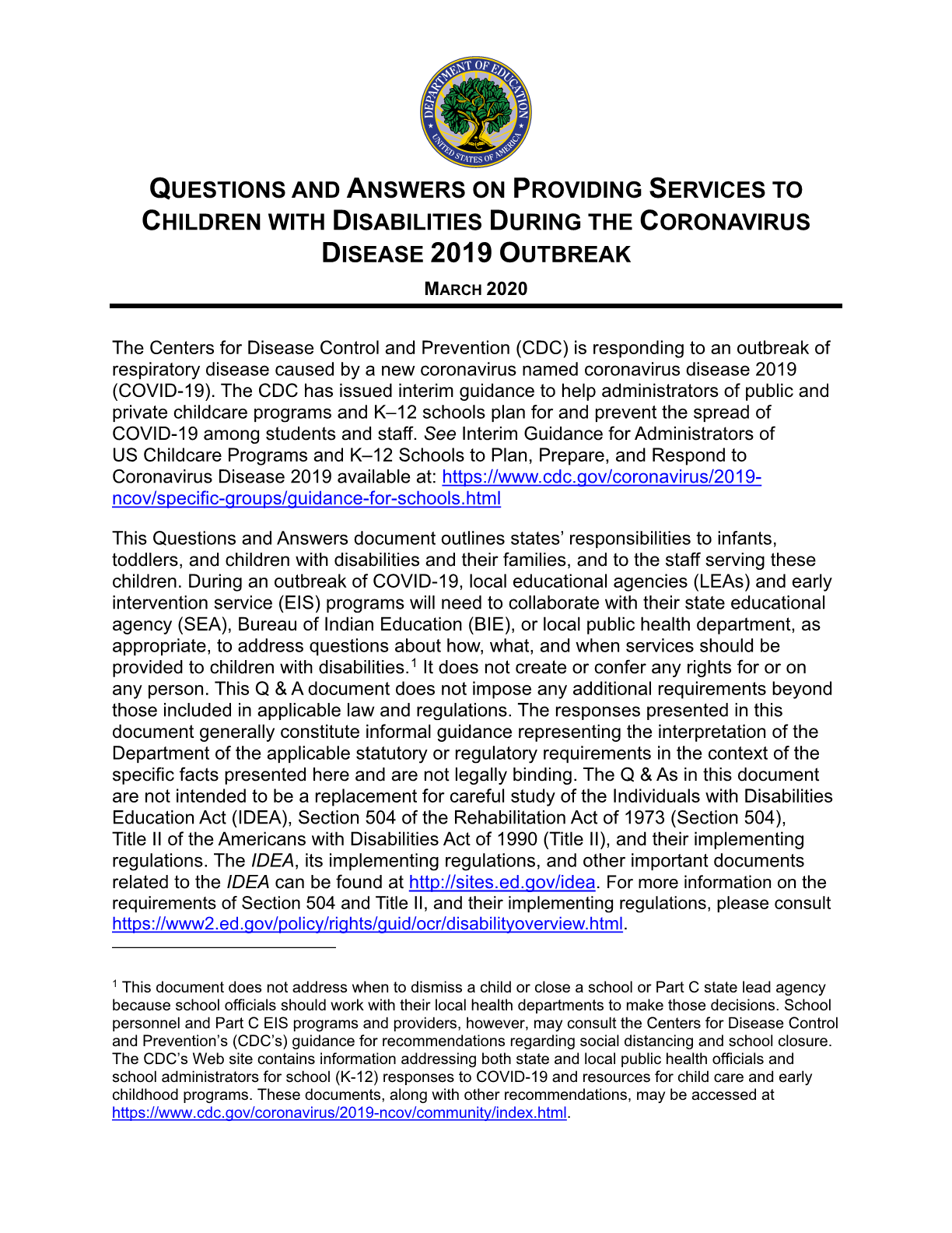 Questions and Answers on Providing Services to Children with Disabilities During the Coronavirus Disease 2019 Outbreak