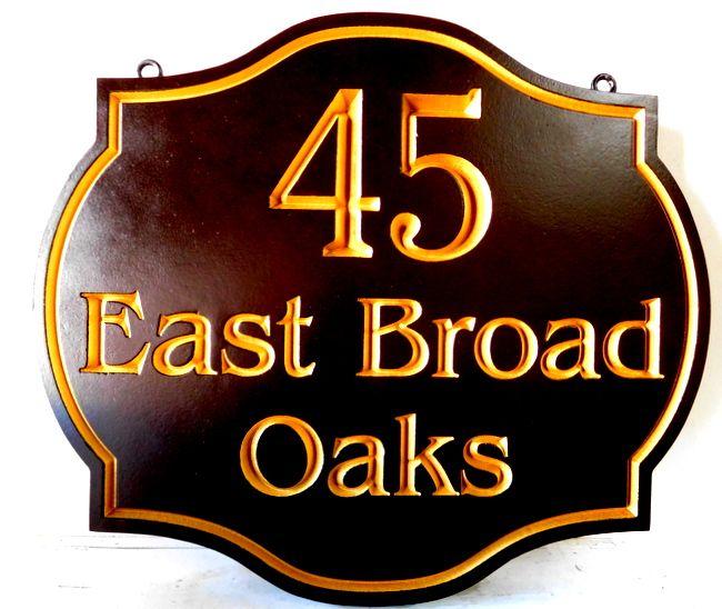I18138 - Elegant Engraved Residence Address Sign, with 24K Gold-leaf Gilding