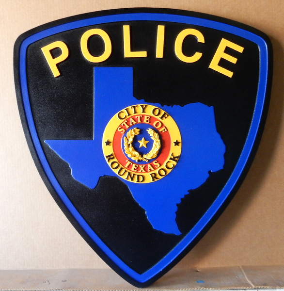 PP-2240 - Carved  Wall Plaque of the Shoulder Patch of the Round Rock City Police, Texas, Artist Painted
