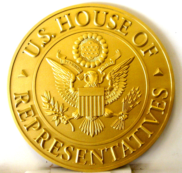 U30113 - Carved 3-D HDU Bright Gold  Wall Plaque  of the Seal of the US House of Representatives.