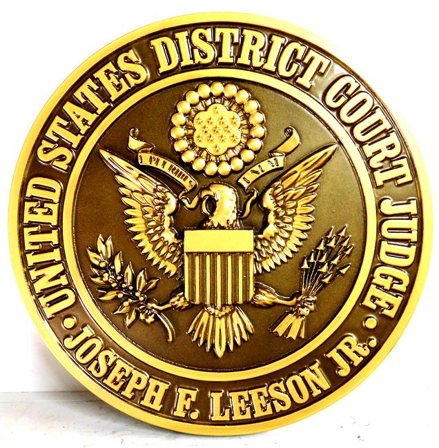 A10833 - Carved 3-D Painted wall plaque of the Seal of the US District Court