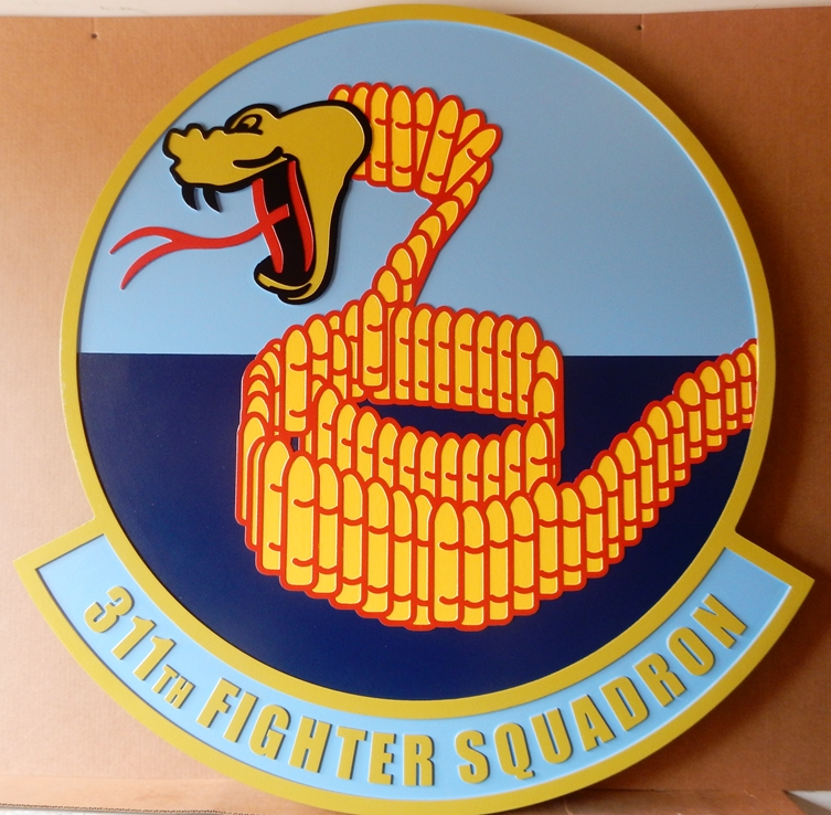 "LP-2340 - Carved Round Plaque of the Crest of the 311th Fighter Squadron ""Stingers"",  Artist Painted"