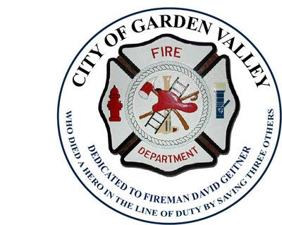 QP-3040 - Carved Memorial Wall Plaque of  the Seal  of the City of Garden Valley  Fire Department, Idaho, Artist Painted