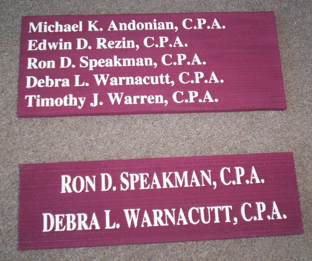 C12054 - Sandblasted High-Density-Urethane (HDU) Signs for a CPA Firm