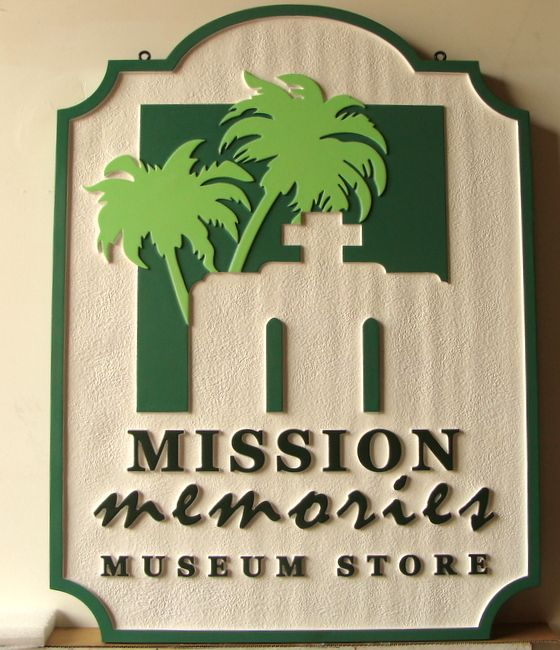 F15954- Carved, Raised (2.5D) HDU Sign for Mission Church Museum Store