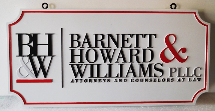 "A10166 - Carved  Hanging Sign for ""Barnette, Howard and Williams PLLC"" Law Office,"