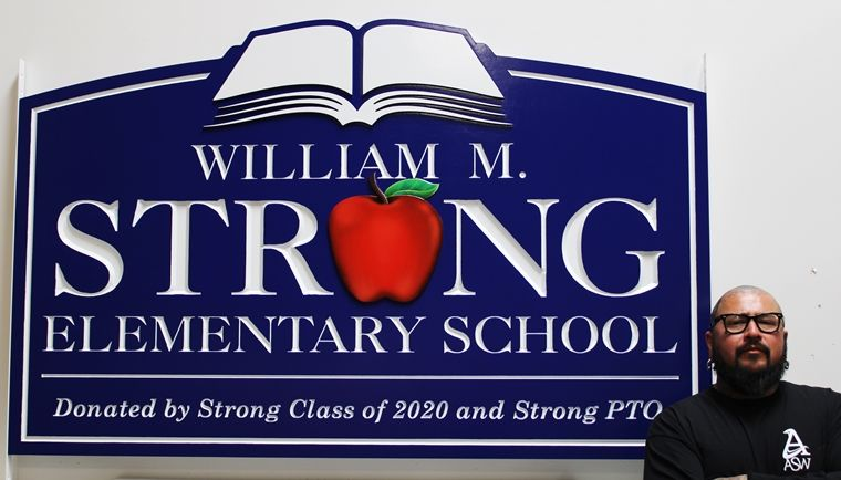 "FA15755 - Carved 2.5D HDU Entrance Sign for the ""William M. Strong Elementary School"" , with Apple as Artwork"