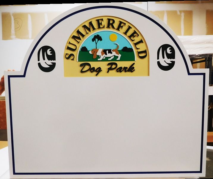 GA16573 - Carved HDU Sign for Summerfield Dog Park with Memorial Plaques for Dogs
