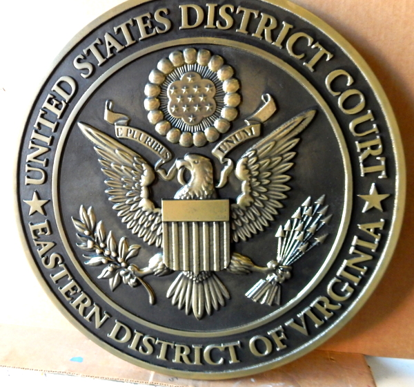 A10834 - Wall Plaque of Great Seal of US District Court (Eastern Virginia), Polished Brass with Dark Patina