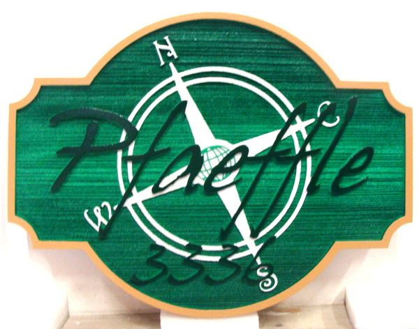 """L21748 - Carved and Sandblasted HDU Coastal Residence """"Pfaeffle""""  Sign, with Compass Rose"""