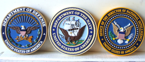 V31192 - 3-D Carved HDU DoD, USN, and National Intelligence Wall Plaques
