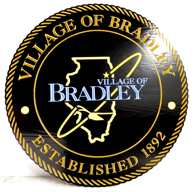 DP-1160 - Carved Plaque of the Seal of the City of Bradley, Illinois,  Artist Painted
