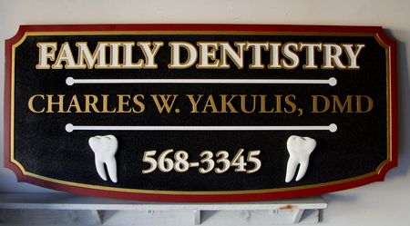 BA11542 - Family Dentist Office Carved Wood Sign with Molars