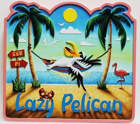 "L21078 - Carved 2.5-D Multi-level Relief HDU  Beach House Name Sign ""The Lazy Pelican"", with a Pelican in a Hammock Suspened Between Two Palm Trees on a Beach"