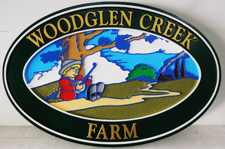 """Q24853 - Carved Entrance Sign for """"Woodglen Creek"""" Farm, with a Country Scene with a Boy Playing a Banjo under a Tree, as Artwork."""