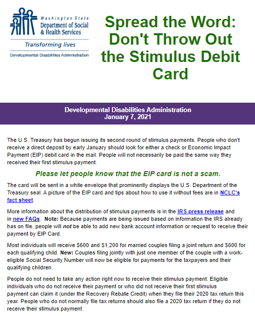 Spread the Word: Don't Throw Out the Stimulus Debit Card