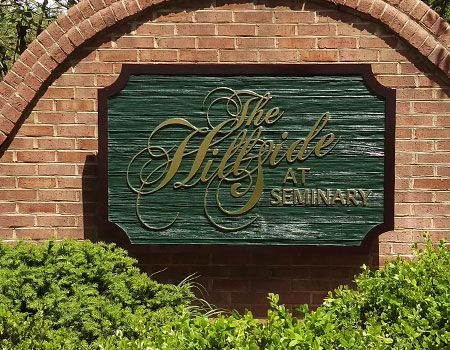Hillside at Seminary Sandblasted sign