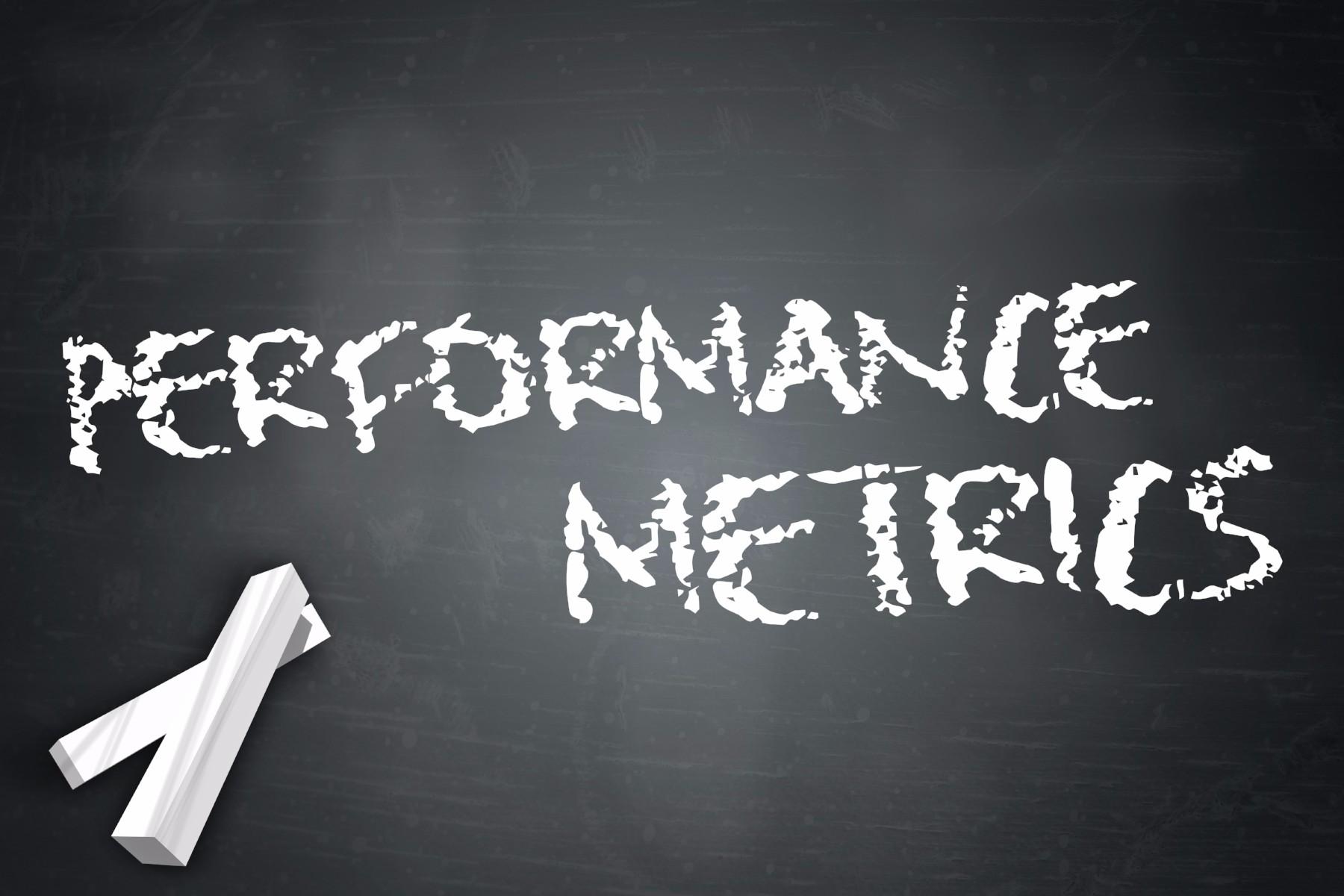 performance metrics on chalk board