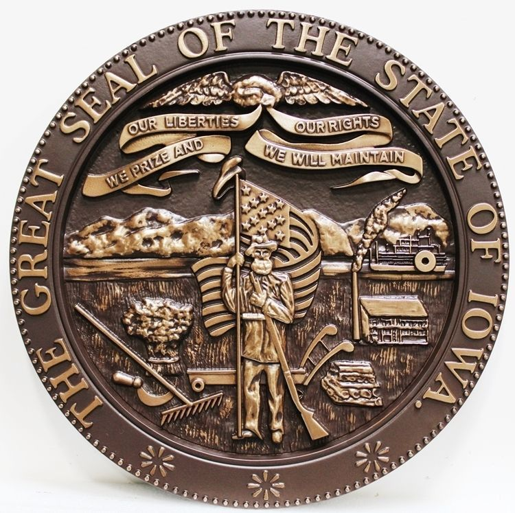 W32203 - Carved 3-D Bronze-Plated HDU Plaque of the Great Seal of the State of Iowa