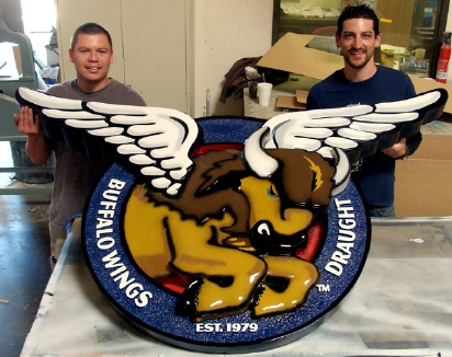 M2380 - Carved Bison with Wings Pub Sign (Gallery 27)